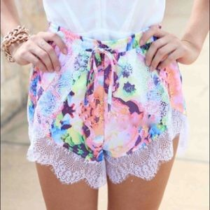 Pants - Lace Trimmed Shorts